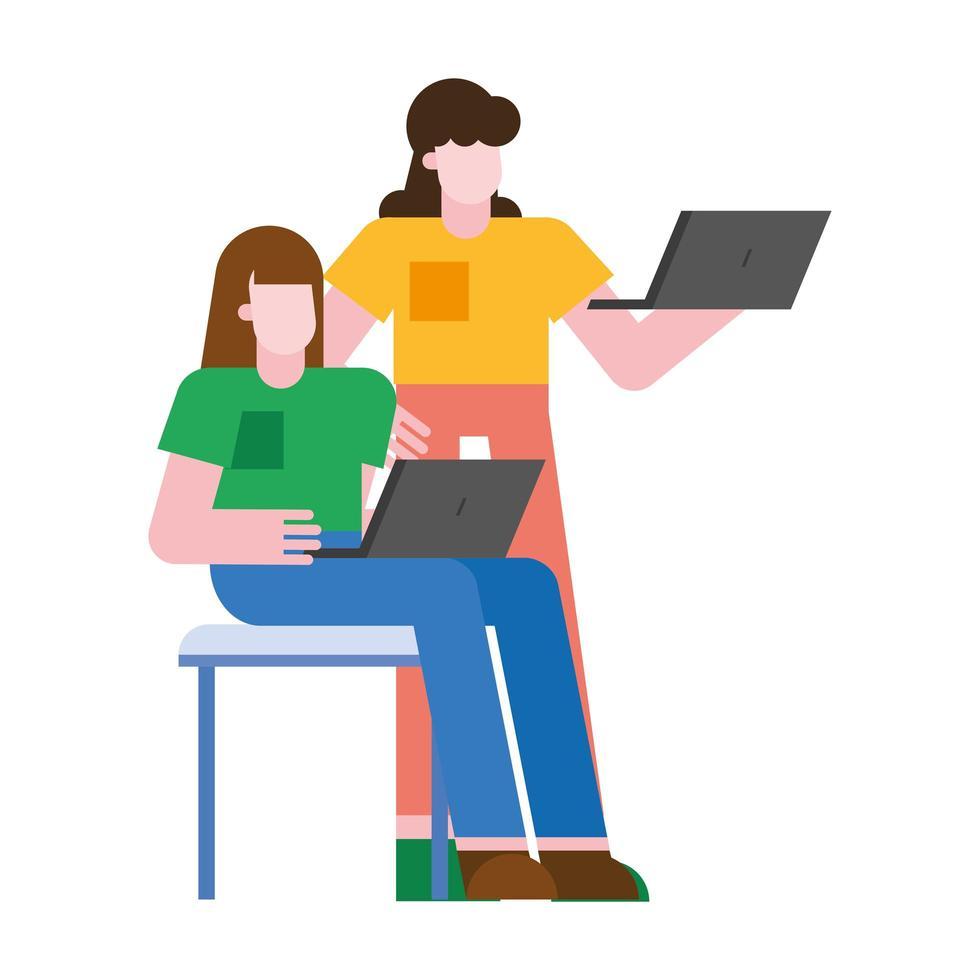 mujeres con diseño vectorial de laptops vector