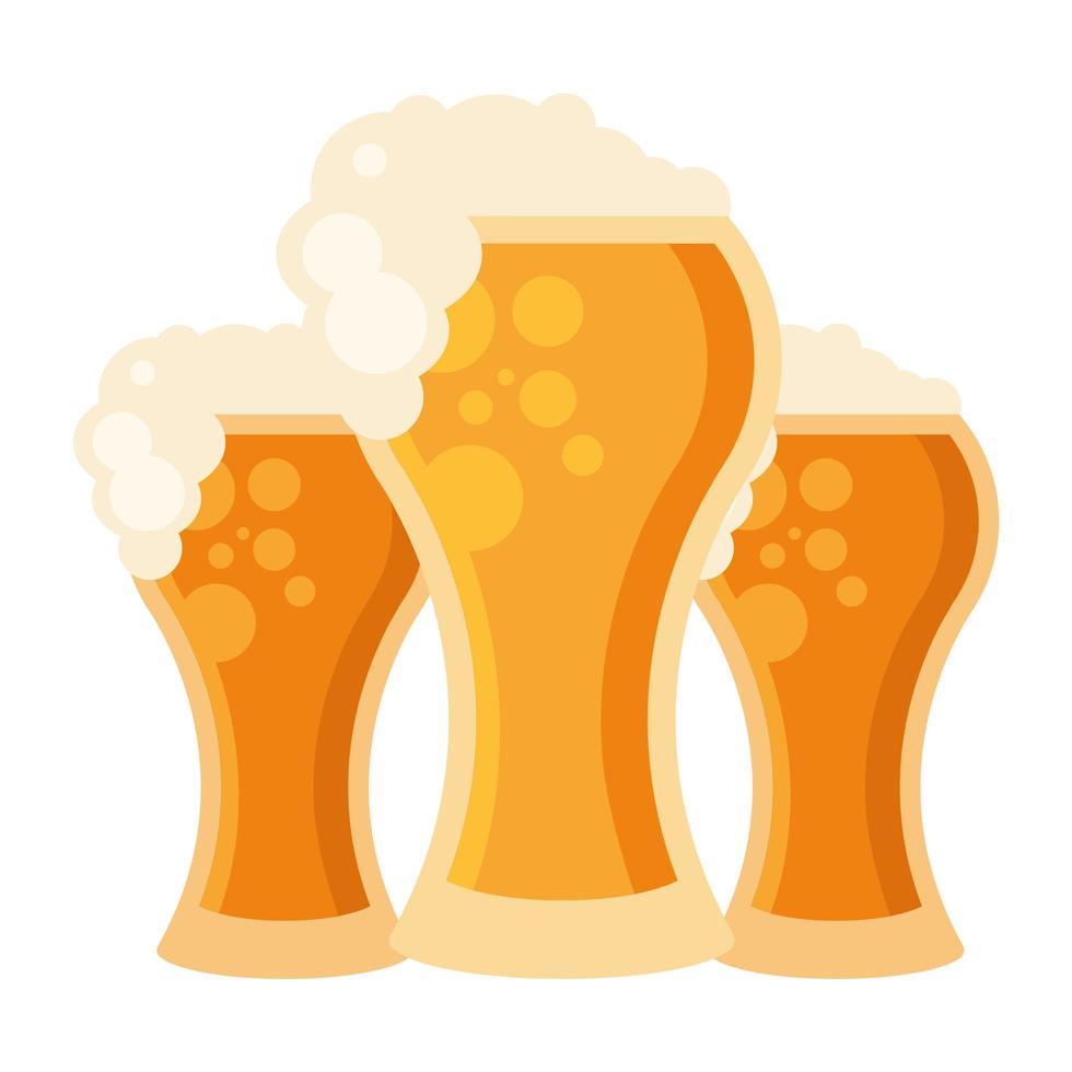 Diseño de vector de vasos de cerveza aislados