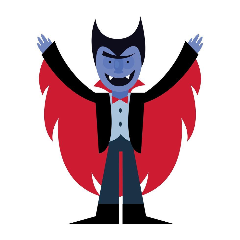 diseño de vector de dibujos animados de vampiro de halloween