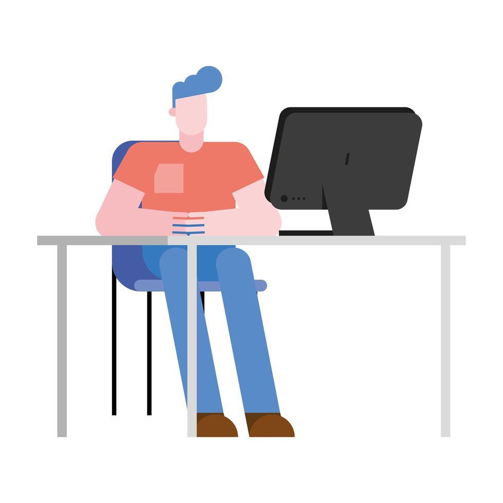 Hombre en escritorio de oficina con diseño de vector de computadora