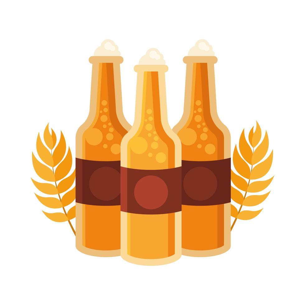 Botellas de cerveza con diseño vectorial de espigas de trigo vector