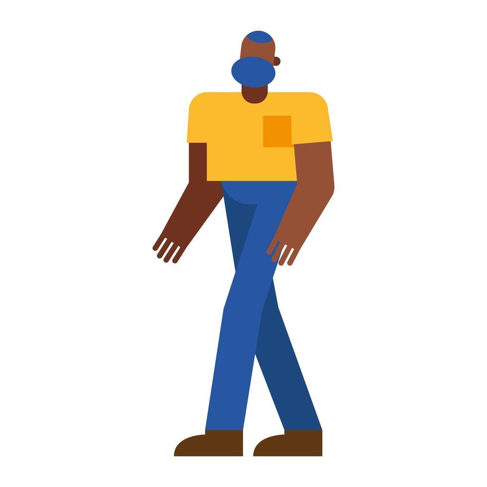 diseño de vector de dibujos animados de hombre negro