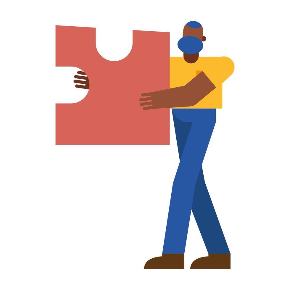 hombre negro con diseño de vector de rompecabezas