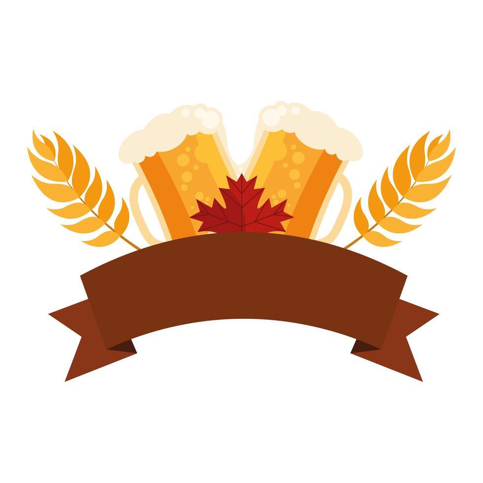 vasos de cerveza con diseño vectorial de espigas de trigo vector