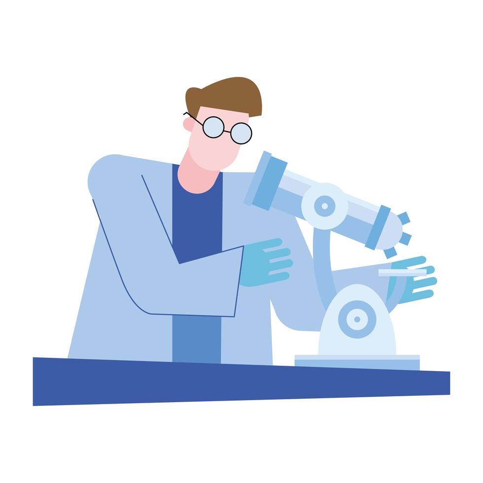 Hombre químico con microscopio en diseño vectorial de escritorio vector