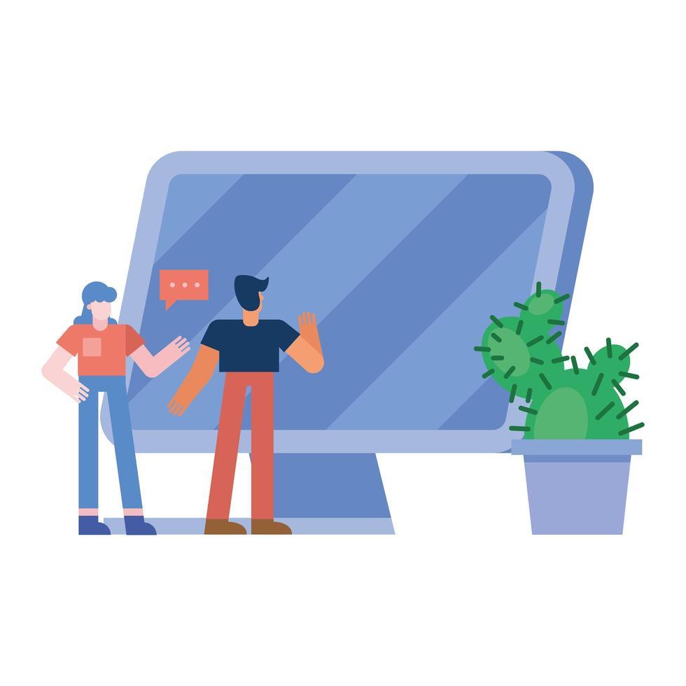 Mujer y hombre con computadora y diseño vectorial de cactus vector