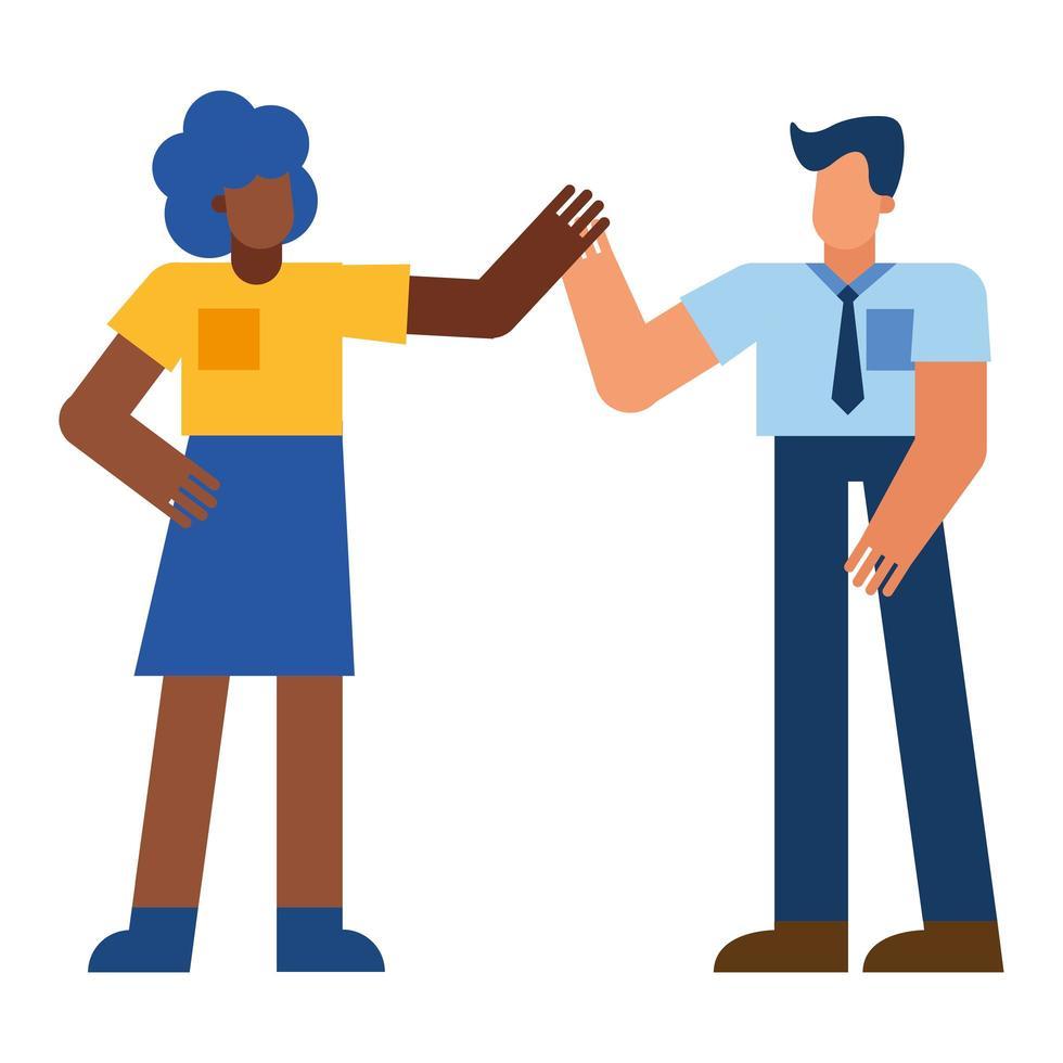 mujer negra y hombre tomados de la mano, vector, diseño vector