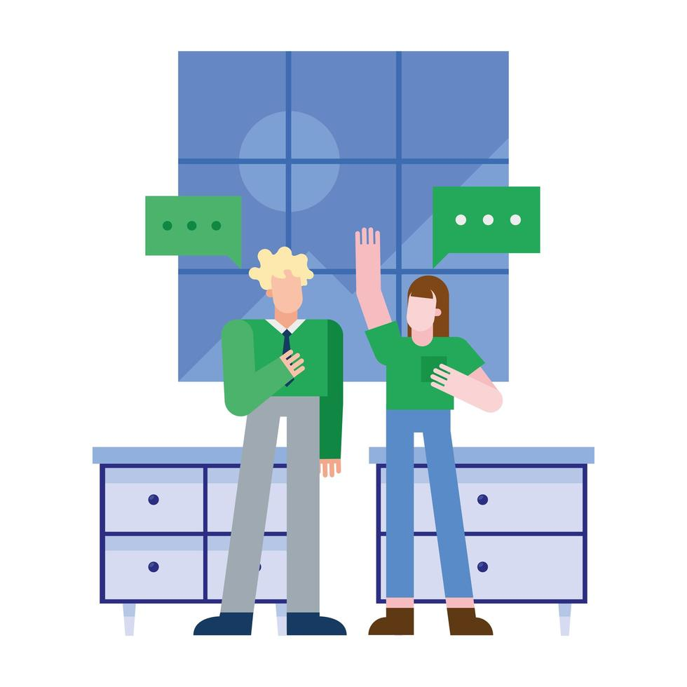 Woman and man with speech bubbles vector design