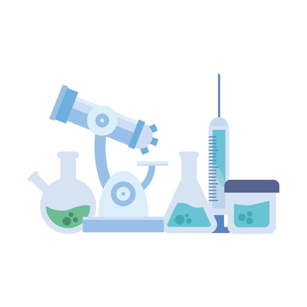 frascos de química frasco de inyección y diseño vectorial de microscopio vector