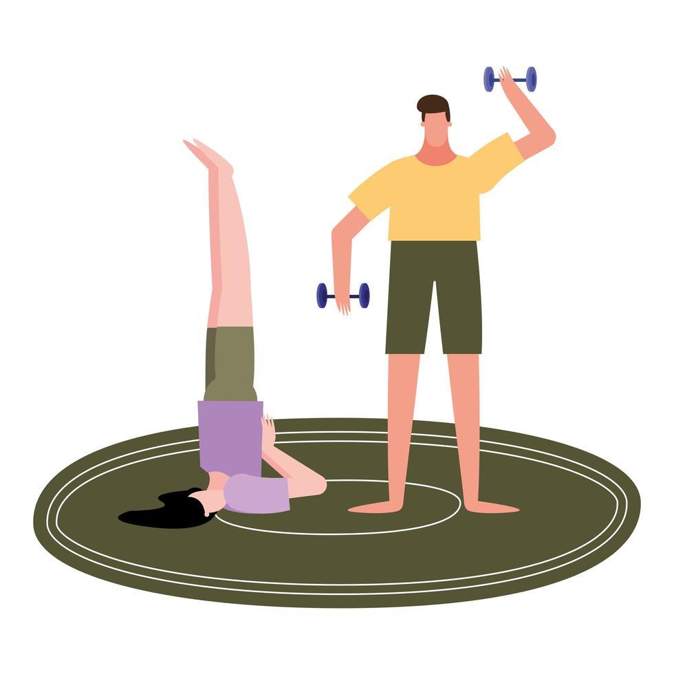 Mujer haciendo yoga en la alfombra y el hombre levantando pesas diseño vectorial vector