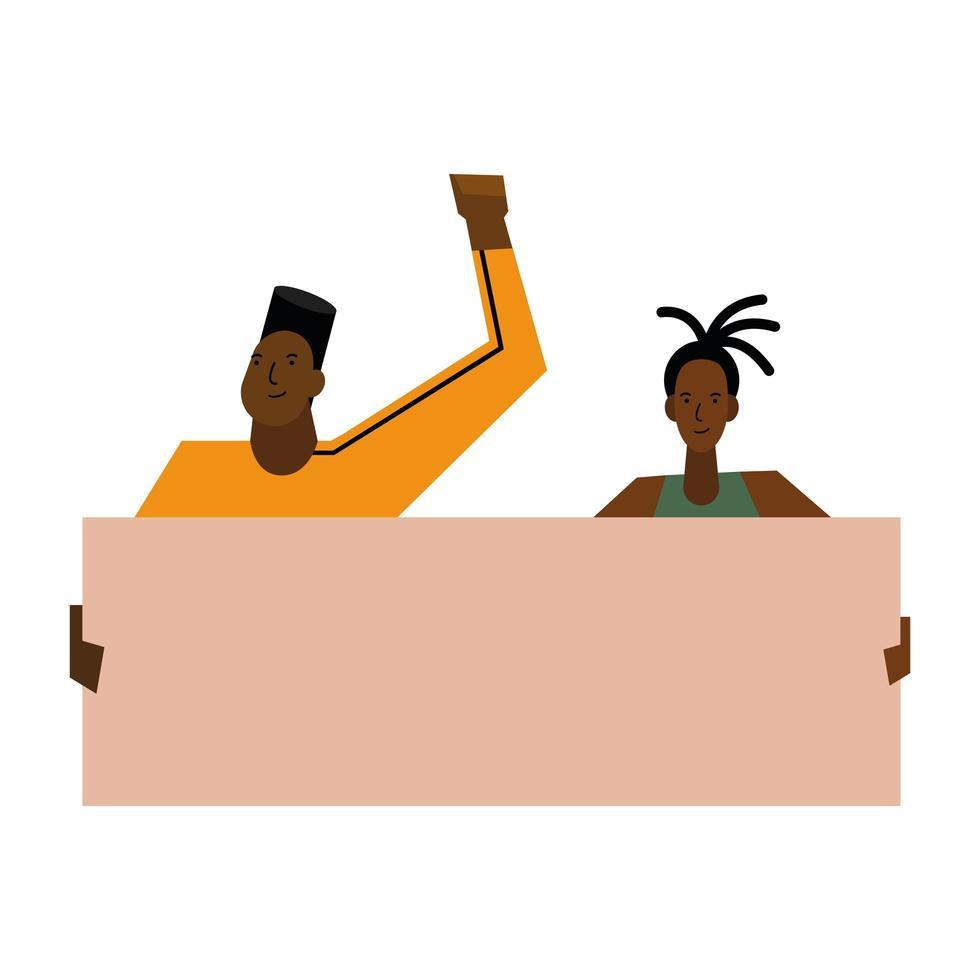 las vidas negras importan a la mujer y al hombre con diseño vectorial de banner vector
