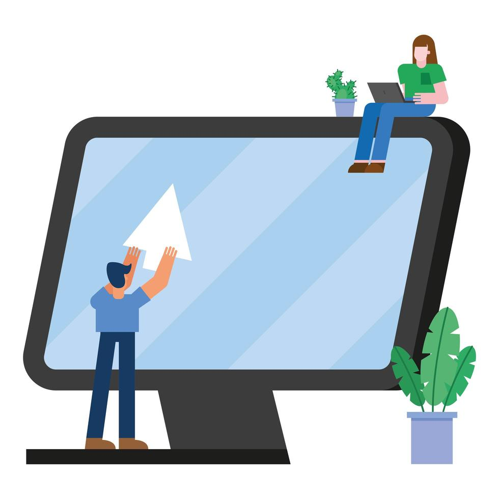 mujer y hombre, con, computadora, y, cursor, vector, diseño vector