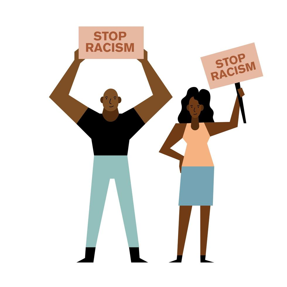 Black lives matter woman and man with banners vector design