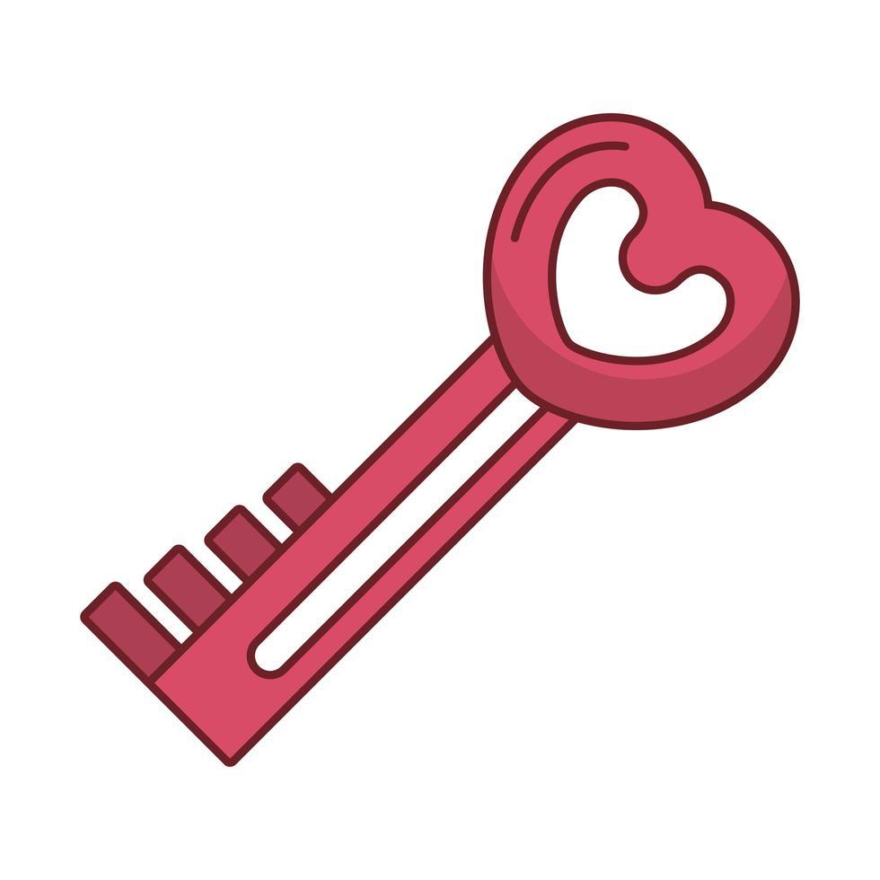 feliz dia de san valentin puerta clave con corazon vector