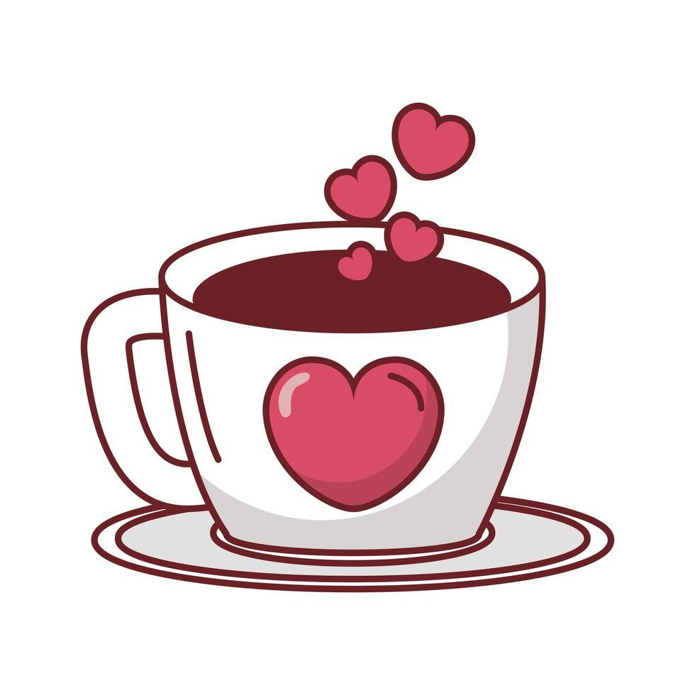 feliz dia de san valentin taza de cafe con corazones vector