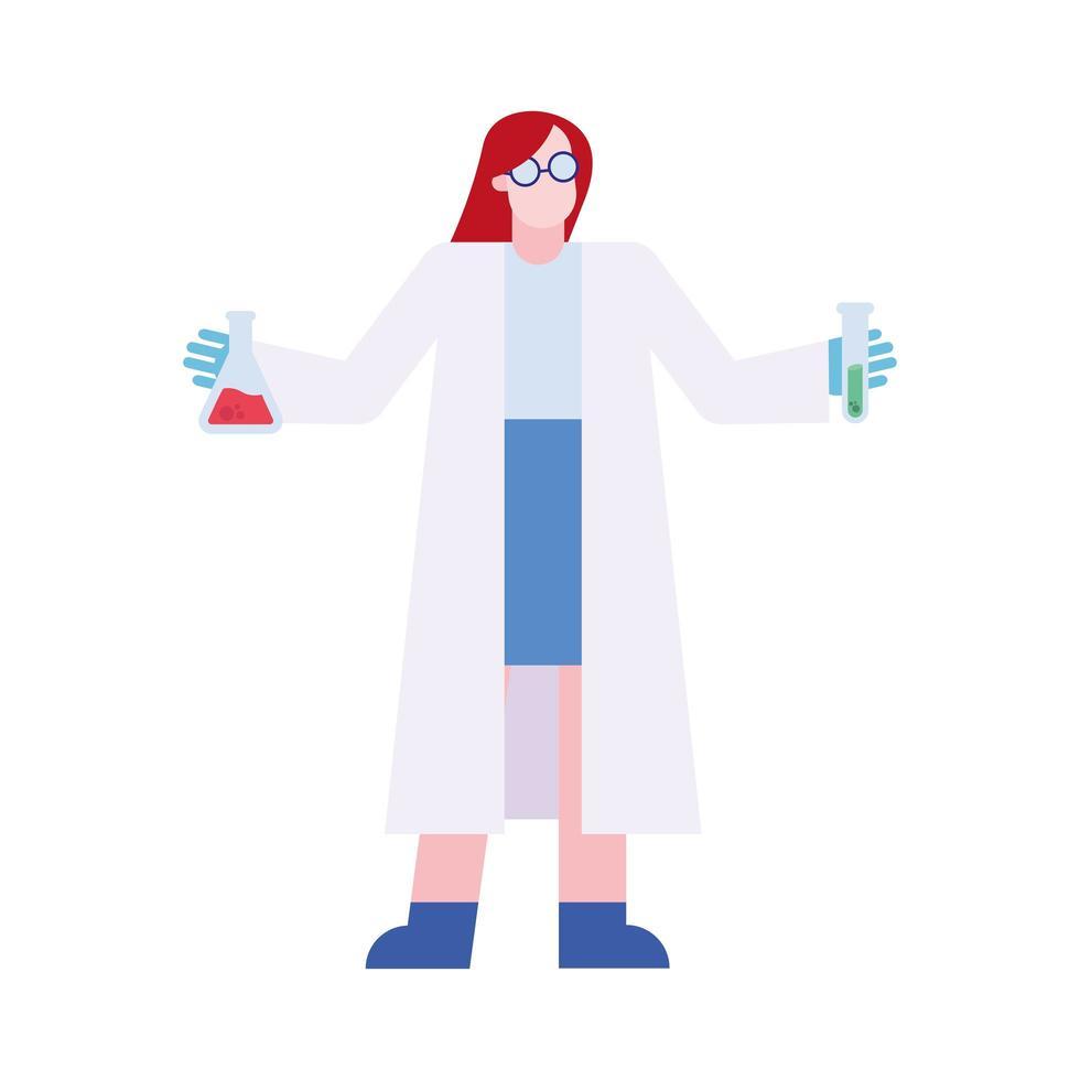 mujer química con matraz y tubo de diseño vectorial vector