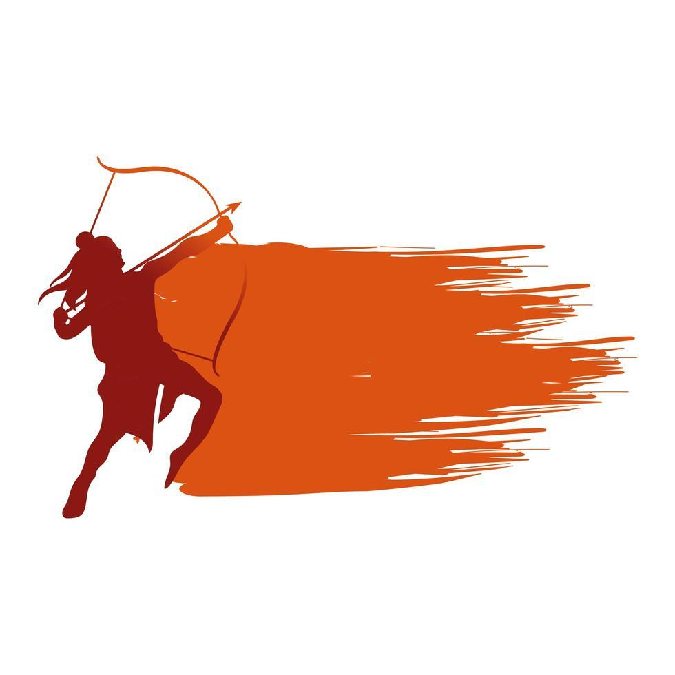 dussehra lord ram con arco y flecha silueta roja diseño vectorial vector