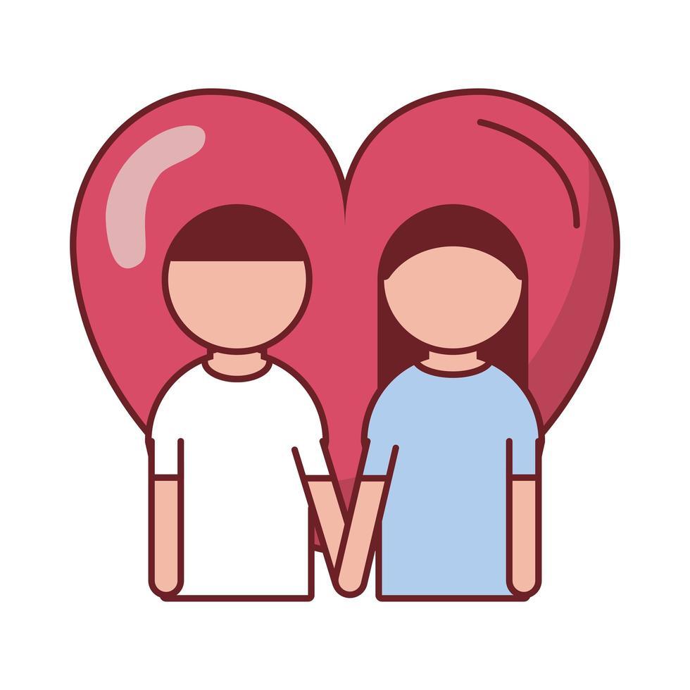 feliz dia de san valentin amantes con corazon vector