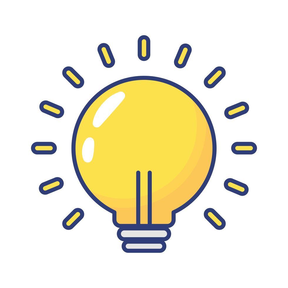 icono de estilo plano de luz de bombilla vector