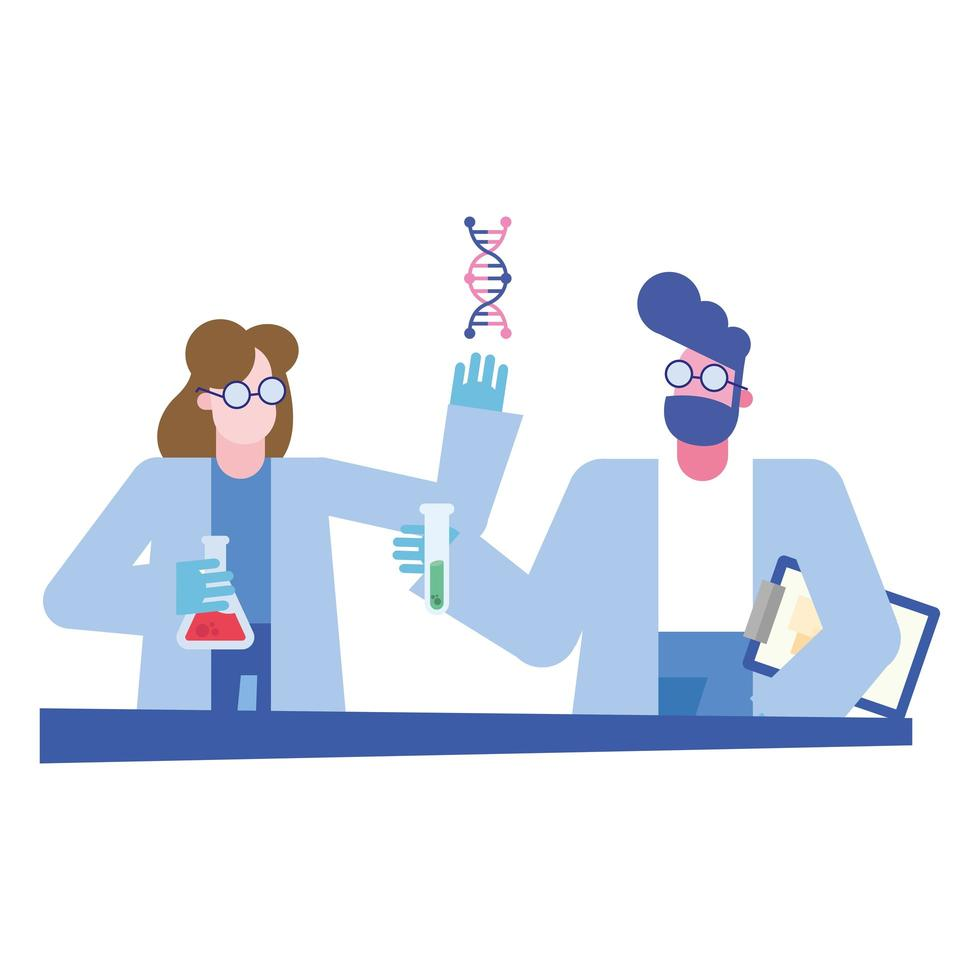 químico, hombre y mujer, con, matraz, tubo, y, adn, en, escritorio, vector, diseño vector