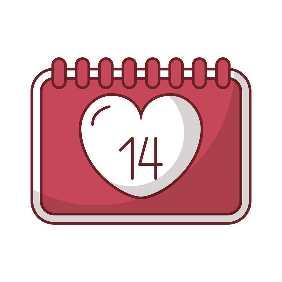 feliz dia de san valentin calendario con corazones vector