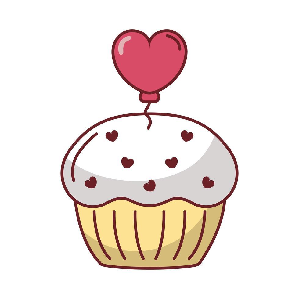 delicioso cupcake dulce con corazón vector