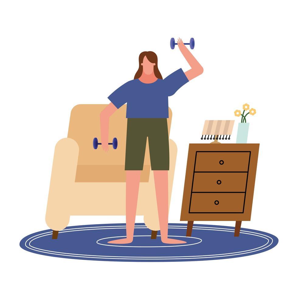 Mujer levantando pesas frente a una silla en casa diseño vectorial vector