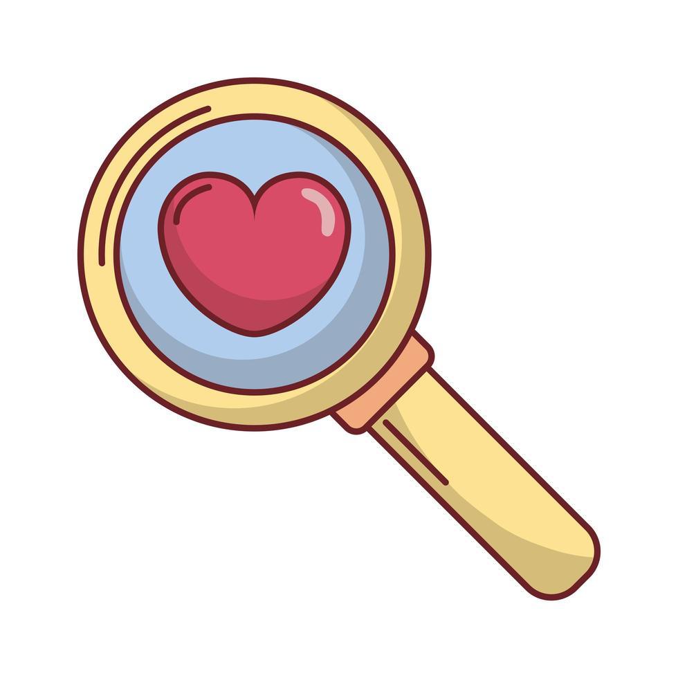 feliz dia de san valentin lupa con corazon vector