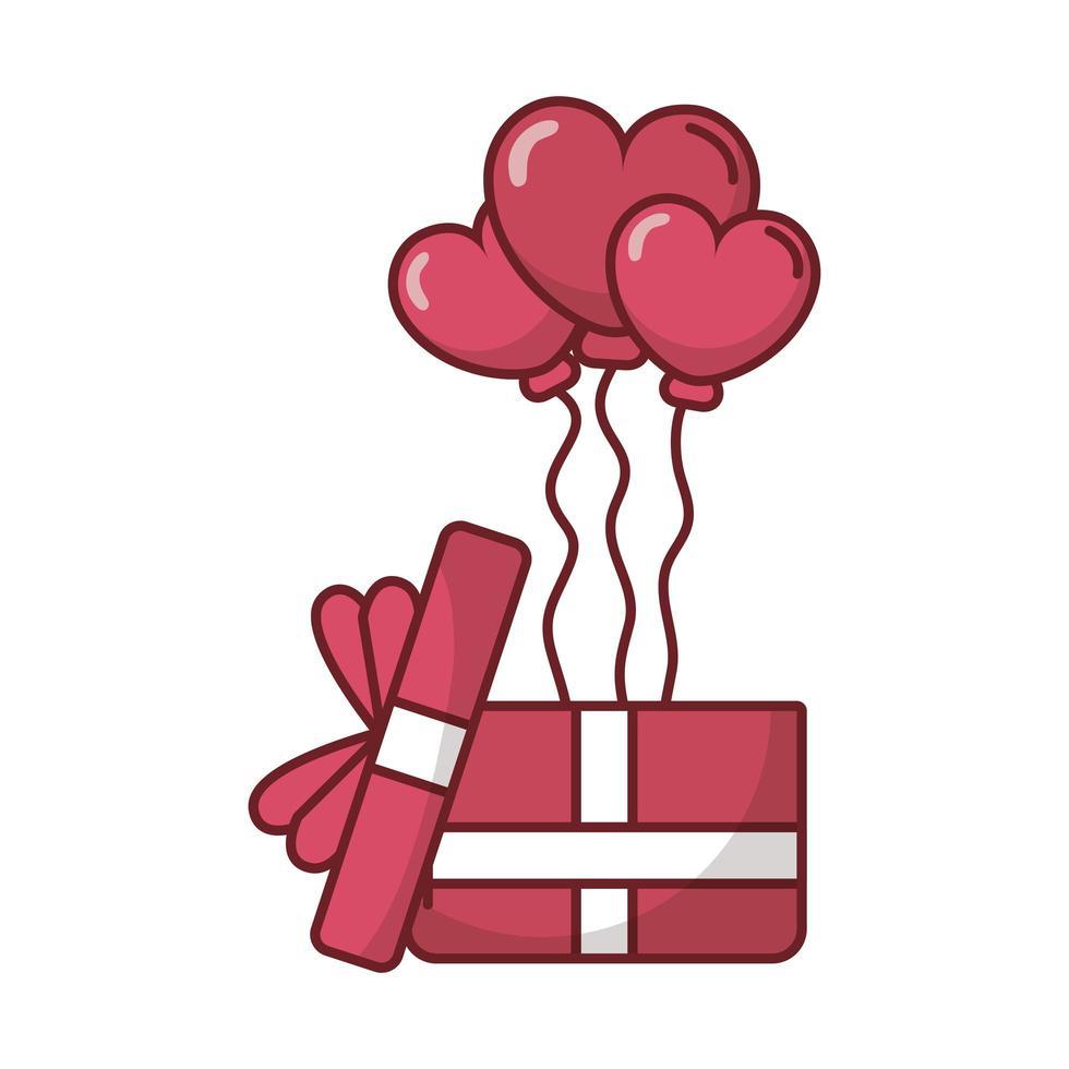 feliz dia de san valentin corazon globos con regalo vector