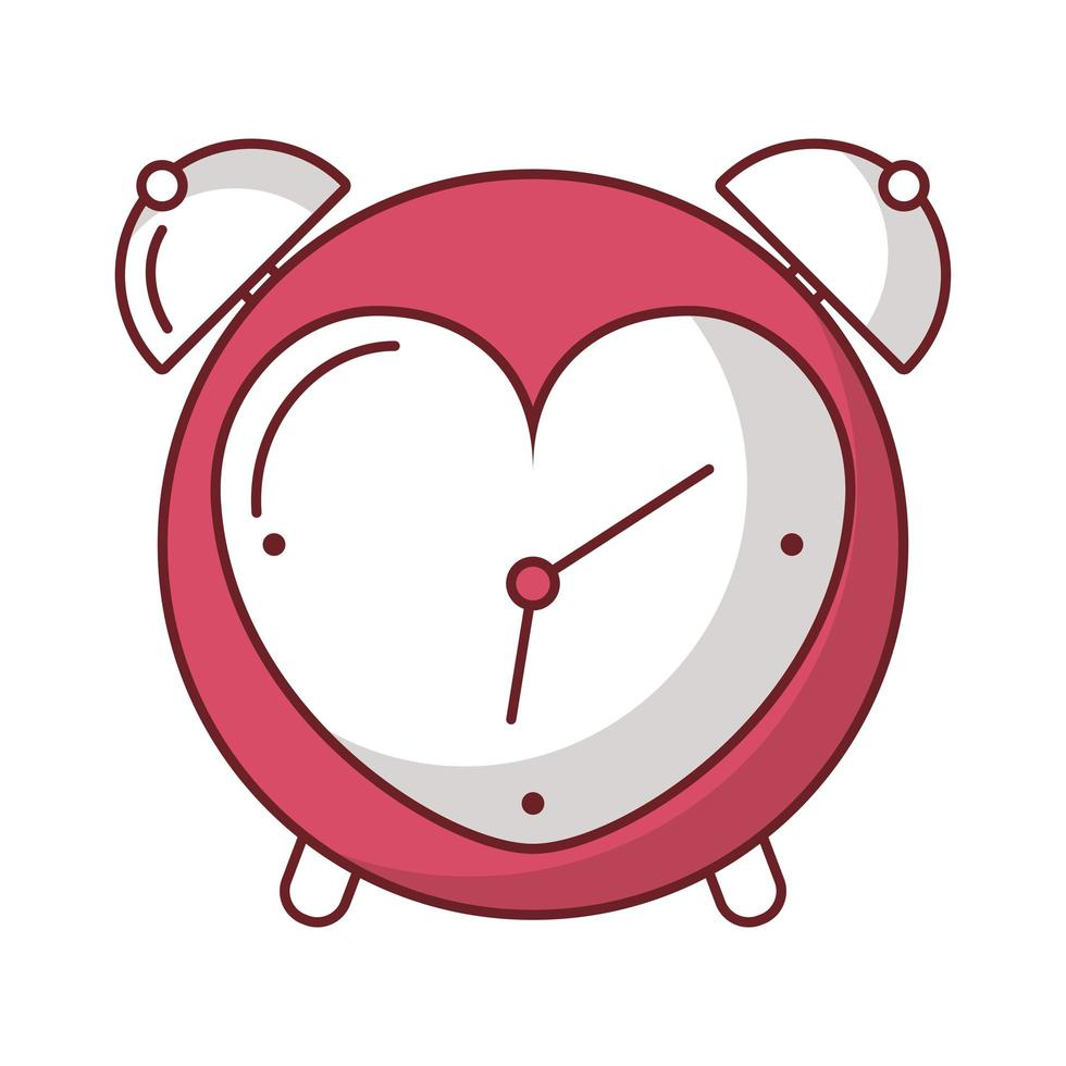 feliz dia de san valentin despertador con corazon vector