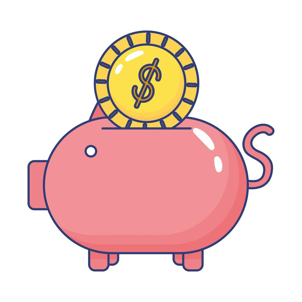 piggybank savings with coin flat style icon vector