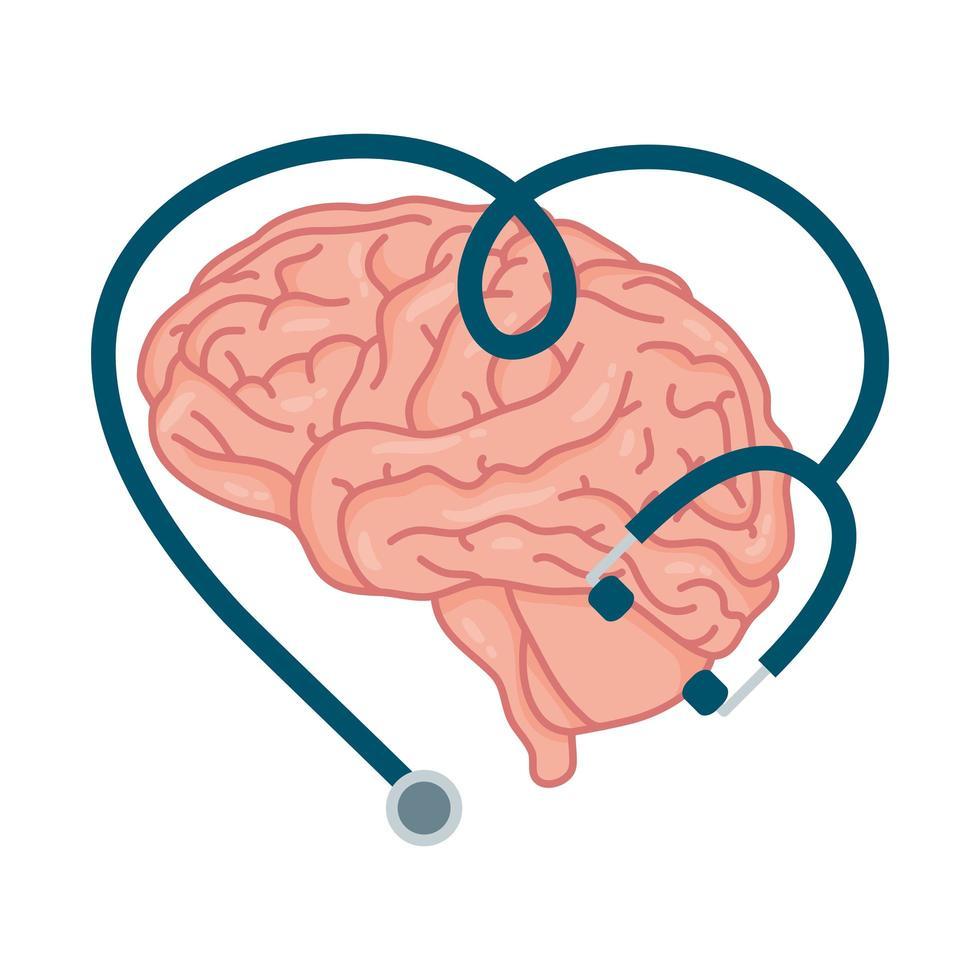 cerebro humano, símbolo de la salud mental vector