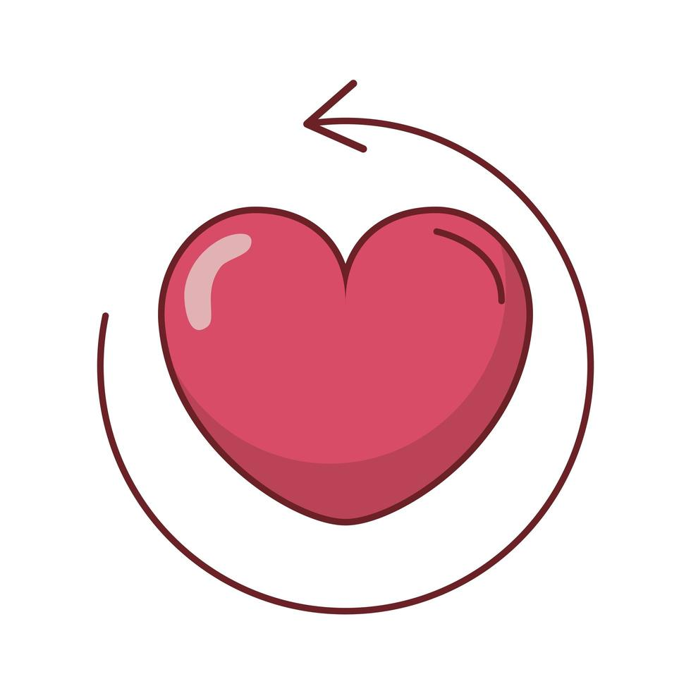 feliz dia de san valentin icono de corazon vector
