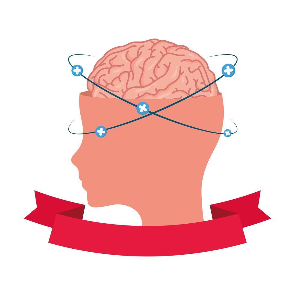 perfil con cerebro humano y símbolos más vector