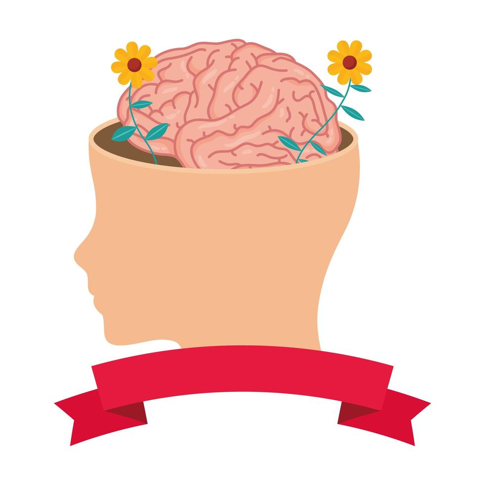 head in profile with human brain and flowers vector