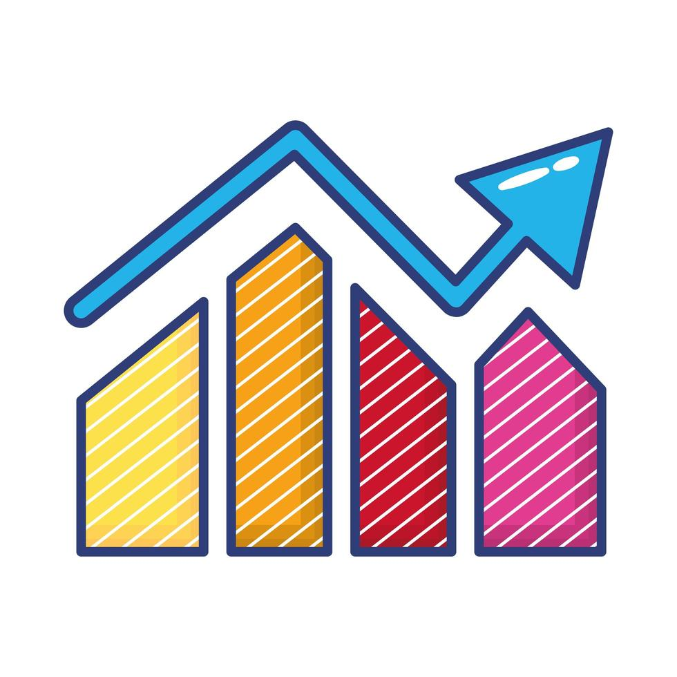 barras de estadísticas con icono de flecha de estilo plano vector