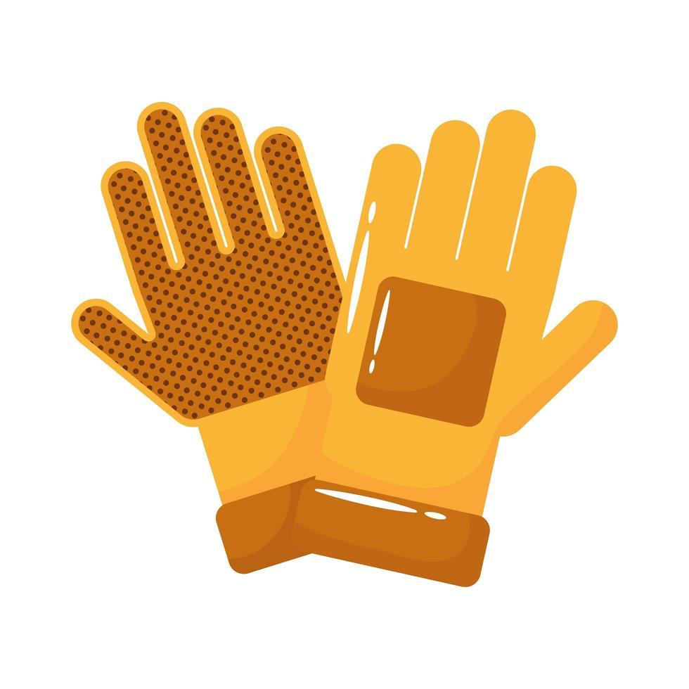 accesorios de guantes de goma estilo plano vector