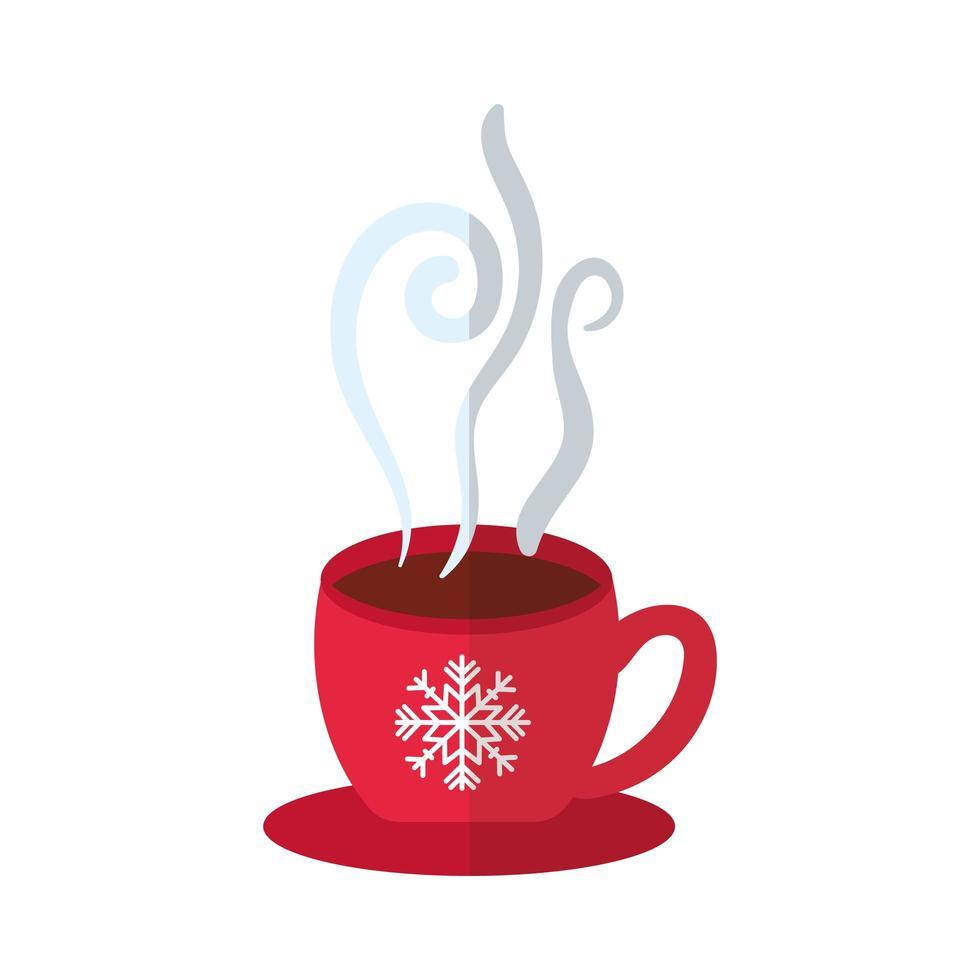taza de feliz navidad con icono de estilo plano de copo de nieve vector