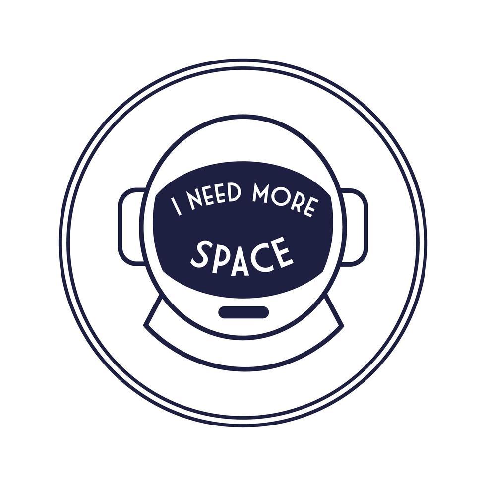 insignia circular espacial con estilo de línea de casco de astronauta vector