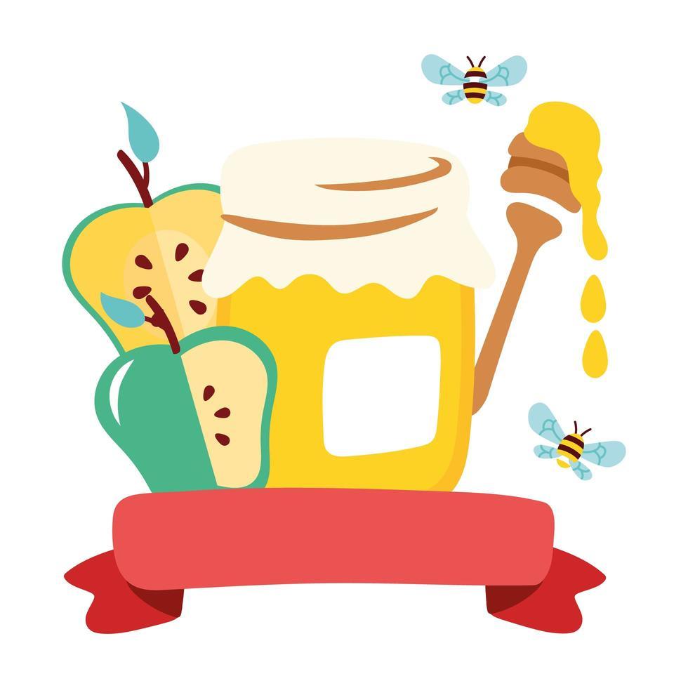 tarro de miel dulce con manzanas y cuchara vector