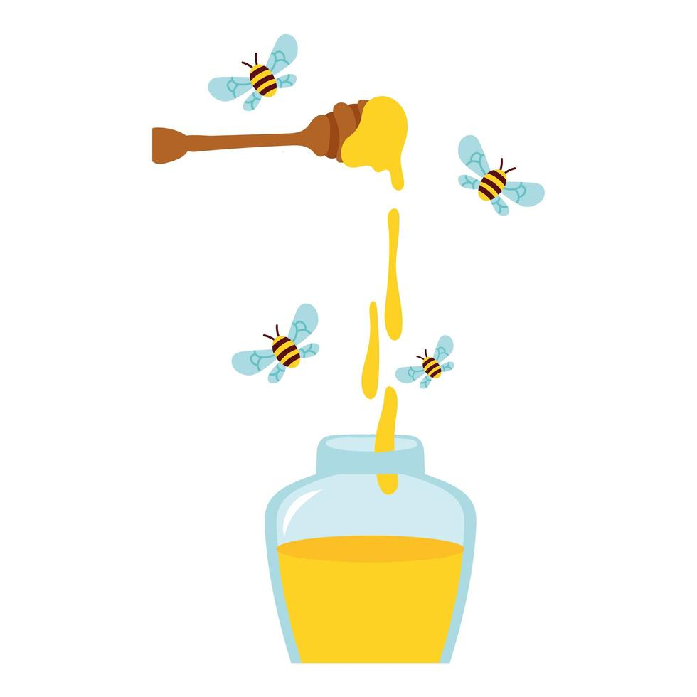 Miel en cuchara de madera con abejas volando alrededor de tarro de miel vector