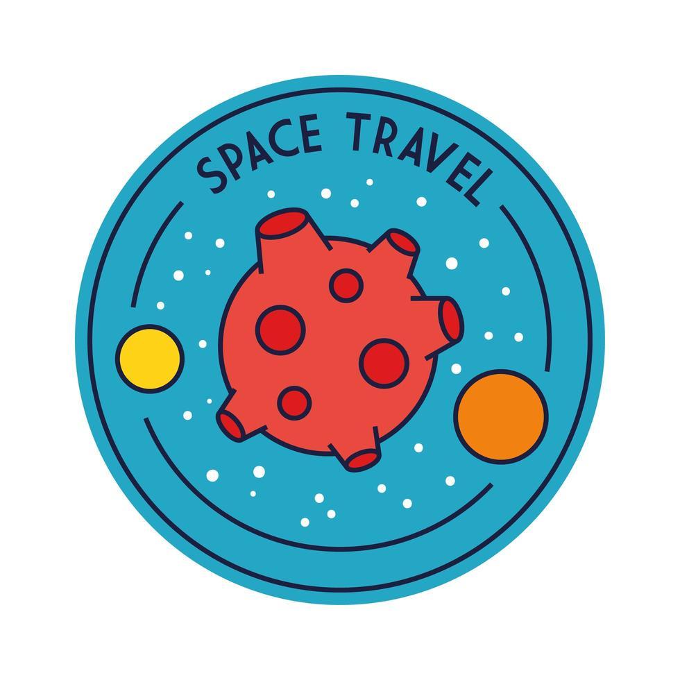 insignia de viaje espacial con la línea del planeta Marte y el estilo de relleno vector