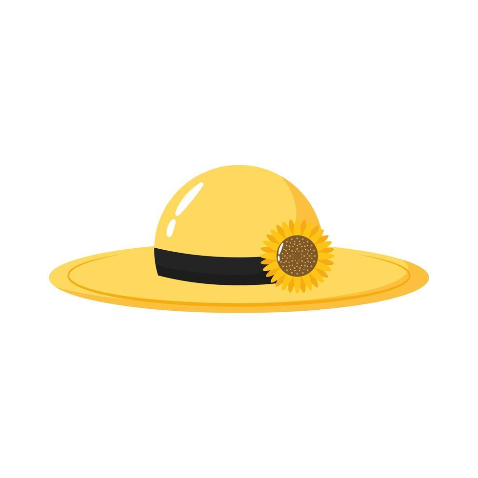 icono de estilo plano de sombrero de jardinería vector