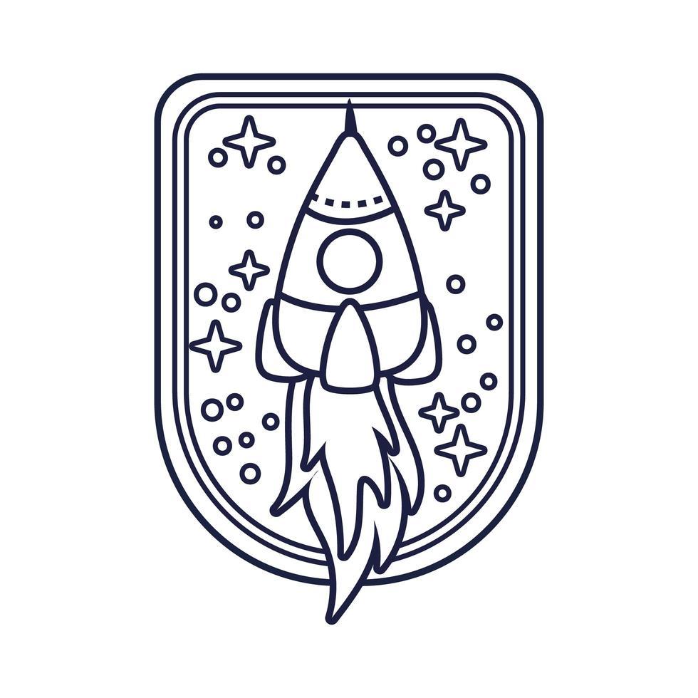 insignia espacial con estilo de línea de cohete vector