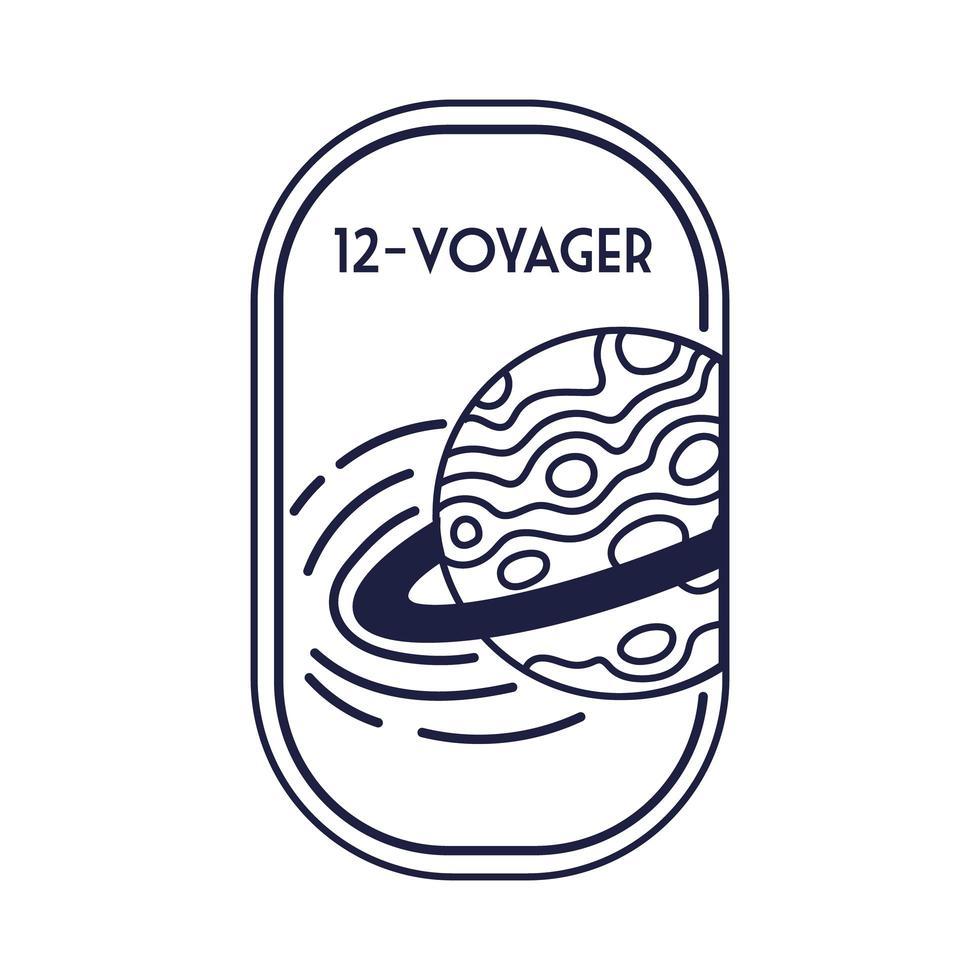 Insignia espacial con planeta Saturno y estilo de línea Voyager 12. vector
