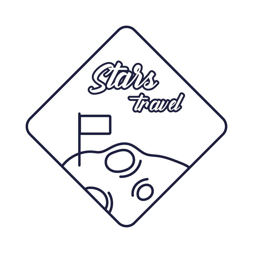 insignia espacial con estilo de línea de luna y bandera vector