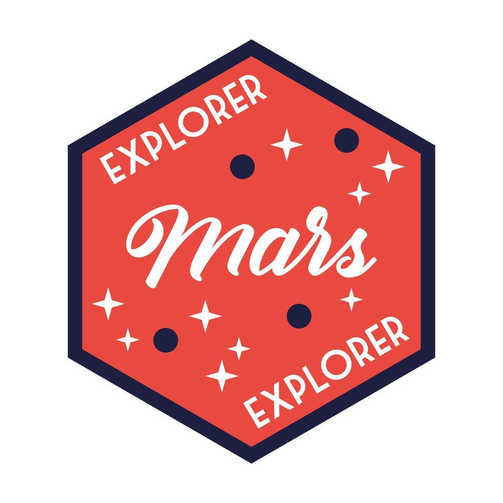 insignia espacial con línea de letras explorer marte y estilo de relleno vector
