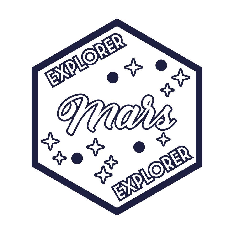 insignia espacial con estilo de línea de letras explorer marte vector