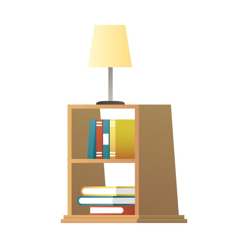 Lámpara en la ilustración de vector de estantería de madera