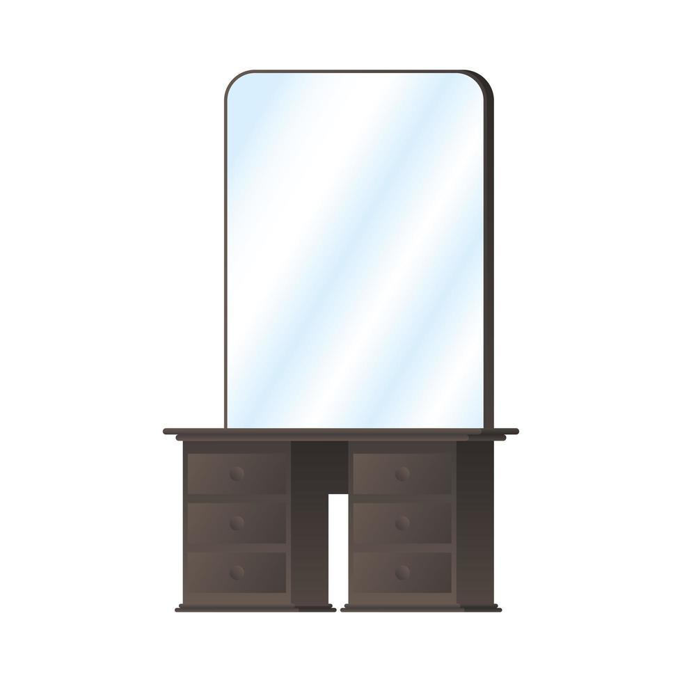 tocador de madera con espejo vector
